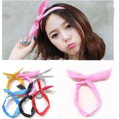 Bunny Ear DIY Wire Headband Scarf Hair Band Bow Head Wrap Polkadot- cute party favor $1.50 each