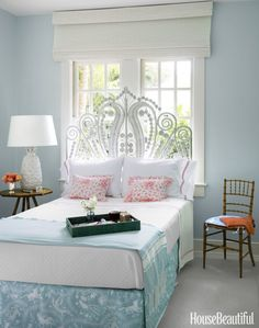 24. Let Space Size Dictate Furniture Placement If the size of the space mandates where the furniture goes, think about the pieces strategically. For example, if a bed has to go against a window wall, choose a headboard that still lets sunlight in, like this Florida bedroom by Todd Romano. Photography by James Merrel