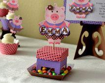 Pink Pig Birthday Party , Farm Birthday, Barnyard Birthday - Centerpiece Candy Dispenser 3-D - CUSTOM