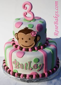 Adventures in Savings: Pink Mod Monkey Cake: Happy 3rd Birthday Bailey!!