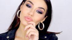 tages make up party look zum erstaunen lila violett lidschatten graue schatten volle lippen runde ohrringe