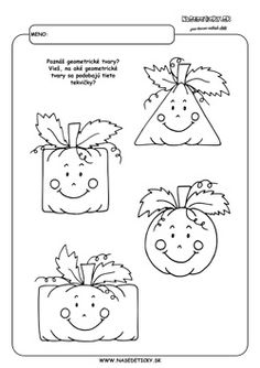 Tekvice. Geometrické tvary. Worksheets For Kids, Printable Worksheets, Autumn Activities, Math Activities, School Projects, Kindergarten, Preschool, Snoopy, Halloween
