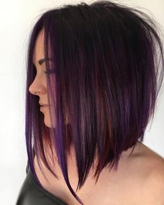 Purple Tinted Brunette Lob beautiful hair styles 70 Best A-Line Bob Hairstyles Screaming with Class and Style Medium Hair Styles, Short Hair Styles, Brunette Lob, Rich Brunette, Bob Hairstyles Brunette, Angled Bob Hairstyles, Inverted Bob Hairstyles, Long Bob Haircuts, Pastel Hair
