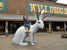Driving through South Dakota, it's impossible to avoid Wall Drug. The billboards start before you even enter the state, and they're arrayed, hundreds of. Weird Sites, Wall Drug, Forest Drawing, Thing 1, Wild Creatures, Roadside Attractions, Funny Design, Funny Art, South Dakota