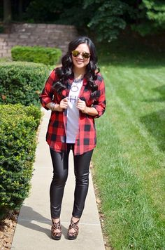 how to wear red, buffalo plaid top, graphic tee, faux leather leggings, animal print shoes