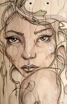 Fay Helfer - Pyrography Art - Girl http://fayhelfer.com/ Article : www.peachy-keen.fr/fay-helfer-pyrography-art/