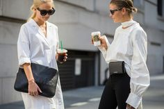 Left, a white shirtdress is worn with a black clutch, layered necklaces, and black sunglasses. Right, a white blouse is worn with a neckerchief, black pants, a belt bag, and tortoiseshell sunglasses