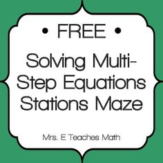 Stations mazes are great because they get students up and moving around the room. They also encourage students to check their work carefully since . Algebra Activities, Maths Algebra, Math Math, Math Games, Math Multiplication, Math Test, Teaching Resources, Teaching Ideas, Math Teacher