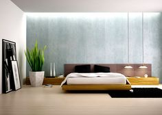 Bedroom  Captivating Floor Pot With Fake Plant For Modern Bedroom Decor Feat Suspended Lamps And Wooden Bed Frame Fabulous Modern Bedroom Decor Shows the Beauty of Room Space