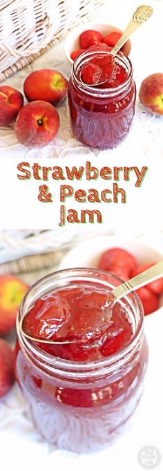 Best Jam and Jelly Recipes – Strawberry & Peach Jam – Homemade Recipe Ideas For Canning – Easy and Unique Jams and Jellies Made With … Fruit Jam, Ripe Fruit, Peach Fruit, Homemade Recipe, Easy Jam Recipe, How To Make Jam, Jam And Jelly, Canning Recipes, Recipes
