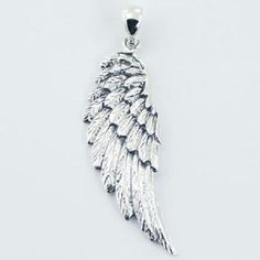 Silver pendant hand crafted Eagle Wing Feathers 925 sterling silver 40mm ht new