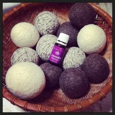 Make yarn balls with 100% wool to replace dryer sheets. Hide the tail of the yarn by using a needle and thread it though the middle so it doesn't come undone. Boil the balls in a large pot. Just to a boil. Let them sit until cooled. Let them dry. These balls are super absorbent so it takes a while for them to dry out.  Add a drop of Young Living lavender oil to one ball. Toss all the balls with the laundry into the dryer. It makes the laundry smell good and cuts the drying time in half.