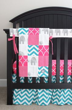 Custom Crib bedding - Hot Pink, Turquoise and Grey Elephant and Giraffe Baby Girl Bedding on Etsy, $320.00