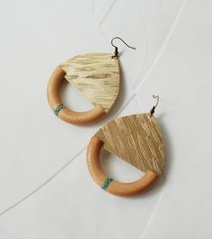 Wood and brass earrings by artfantasyjewellry on Etsy