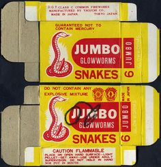 Glowworms Snakes - fireworks box - 1970's