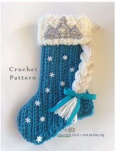 Easy Crochet Projects for Beginners Frozen Inspired Crochet Christmas Stocking. Diy Christmas Stocking Pattern, Crochet Stocking, Crochet Christmas Decorations, Crochet Christmas Ornaments, Christmas Crochet Patterns, Holiday Crochet, Crochet Gifts, Cute Crochet, Crochet Christmas Stockings