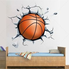 Basketball ball out of the wall decorative sticker vinyl - Home And Decor Kids Sports Crafts, Basketball Crafts, Basketball Bedroom, Basketball Backboard, Kids Room Murals, Wall Murals, School Murals, Boy Room, Wall Design