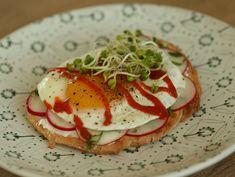 Egg and radishes toast. Caprese Salad, Toast, Eggs, Breakfast, Morning Coffee, Egg, Egg As Food, Insalata Caprese