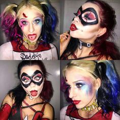 Just a coupla Harley Quinns *Old School Harley Quinn style and Suicide Squad Harley Quinn | IG @voodoobarbiedoll | Harley Quinn Makeup, Joker Makeup, Suicide Squad, Harley Quinn Hair, DC Comics, Comic Book Makeup, Cosplay, Cosplay Makeup, Costume Makeup, Halloween Makeup, Body Paint, SFX, Special Effects Makeup, Facepaint, Mask Makeup, The Joker, Clown Makeup
