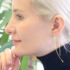 Comfortably lightweight, these pull through earrings are a minimal and modern update on classic thin wire open hoop earrings. Pull Through, Staple Pieces, Minimal, Hoop Earrings, Wire, Classic, Modern, Jewelry, Jewellery Making