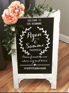 Welcome Wedding Chalk Board Sign // Wedding Chalk Board Easel // Welcome To Our Beginning by cmorrisdesigns on Etsy https://www.etsy.com/listing/285789649/welcome-wedding-chalk-board-sign-wedding