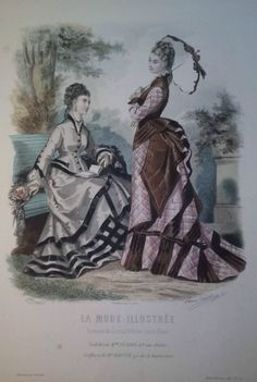 La Mode Illustrée 1875.  Gorgeous promenade costumes from the end of the Early Bustle era.