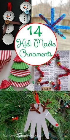14 Kid Made Christmas Ornaments - Tips from a Typical Mom Making homemade ornaments for the tree is a fun activity to do as a whole family. The kids really love making their own ornaments that will… Kids Make Christmas Ornaments, Preschool Christmas, Christmas Activities, Christmas Projects, Holiday Crafts, Holiday Fun, Christmas Holidays, Christmas Decorations, Ornaments Making