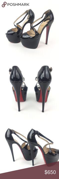 84665befa293 Christian Louboutin Catchy two 120 Heels SZ 37 Black stiletto platform  heel