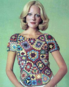 Vintage Crochet Pattern PDF 246 Stained Glass Granny Square Womens Top Vest Retro on Etsy, 2,50 £