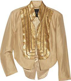 Sequin-embellished Linen-blend Jacket - Lyst