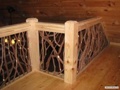 Add this interior railing to your home and transform the space with rustic wood railing. Mountain Laurel Handrails for balcony and stairs interior railing.