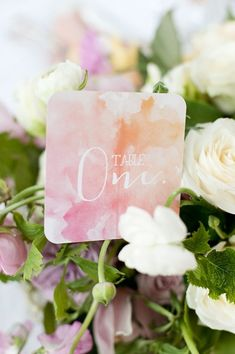 Hand cut/&painted watercolor II Orangerose Style gold ink Table number wedding table number