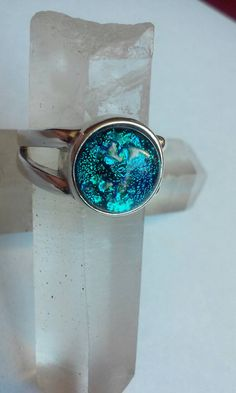 Cremation Jewelry Ring size 7 ashes infused into glass sterling silver split band memorial Urn Pet