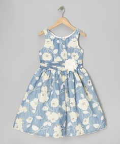 Take a look at this Blue & White Daisy Dizzy Dress - Girls on zulily today!