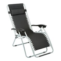 Lean back and relax. From upright to zero-gravity reclining, this lounger locks in place at the perfect position and provides maximum comfort with a padded head rest.