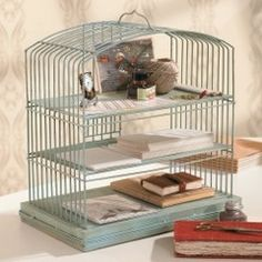 Love this desk organizer from a bird cage.