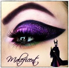 Maleficent is one of the scariest Disney Villians of all time. This look of heavy black eyeliner with purple and green sparkles helps to capture this evil look perfectly.