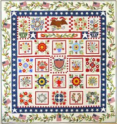 American album quilt, designed by American Jane, 2015 BOM at Common Threads Quilting