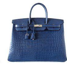 Hermes Birkin Bag 40cm alligator bleu de malte matte  87 9034b82c8fca6