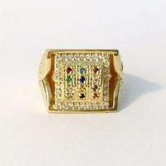 Breastplate of High Priest Menorah Staff Judaica Jewish Twelve Tribes of Israel Mannaseh Ring 18karat Gold Layered Gemstones Ref. AN36 by HADASSAHjewelry on Etsy
