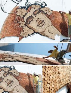 recycled cork wall mural - this is getting creepy...