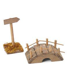 Miniature Wood Sign & Bridge Décor