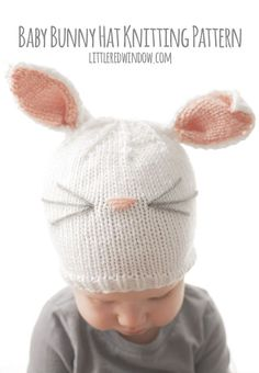 Knit a sweet little baby bunny hat for your little one with this free knitting pattern!