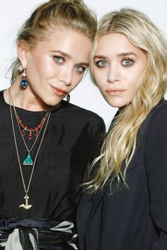 Street style the Olsen twins Ashley and Mary-Kate layering necklaces  2014