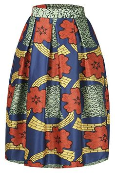 Annflat Women's African Print Knee Length Flare Skirts With Pockets.