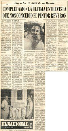 10 años de la muerte de Reverón y útima entrevista. Publicado el 18 de septiembre de 1964.
