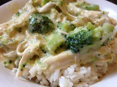Crock-Pot Cheesy Chicken & Broccoli Over Rice Recipe    3-4 boneless chicken breasts  1 10oz can cream of chicken soup  1 10 oz can cheddar soup  1 14 oz can chicken broth  ½ teaspoon salt  ¼ teaspoon garlic salt seasoning  1 cup sour cream  6 cups broccoli florets, just fork tender (I cooked it in boiling water for 3-4 minutes)  1 cup shredd