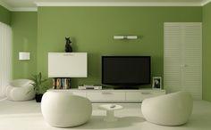 couleur de peinture salon vert saturé et meubles banc cassé