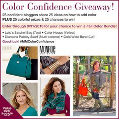 Enter to win a $125 Fashion Accessory Bundle from Monroe and Main http://www.fashionbeyondforty.com/2015/08/color-confidence-obsessed-with-orange.html#more