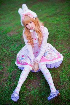 Sweet Lolita~ I love bunny ears with lolita fashion it reminds me to see the world more innocently and not everything associated with something is bad.